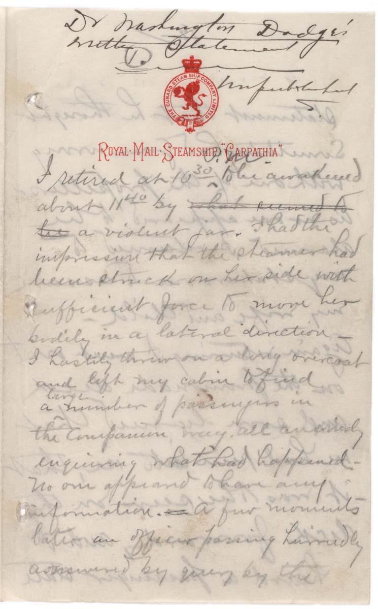 Washington Dodge, Eyewitness account of sinking of the Titanic, April 15, 1912.