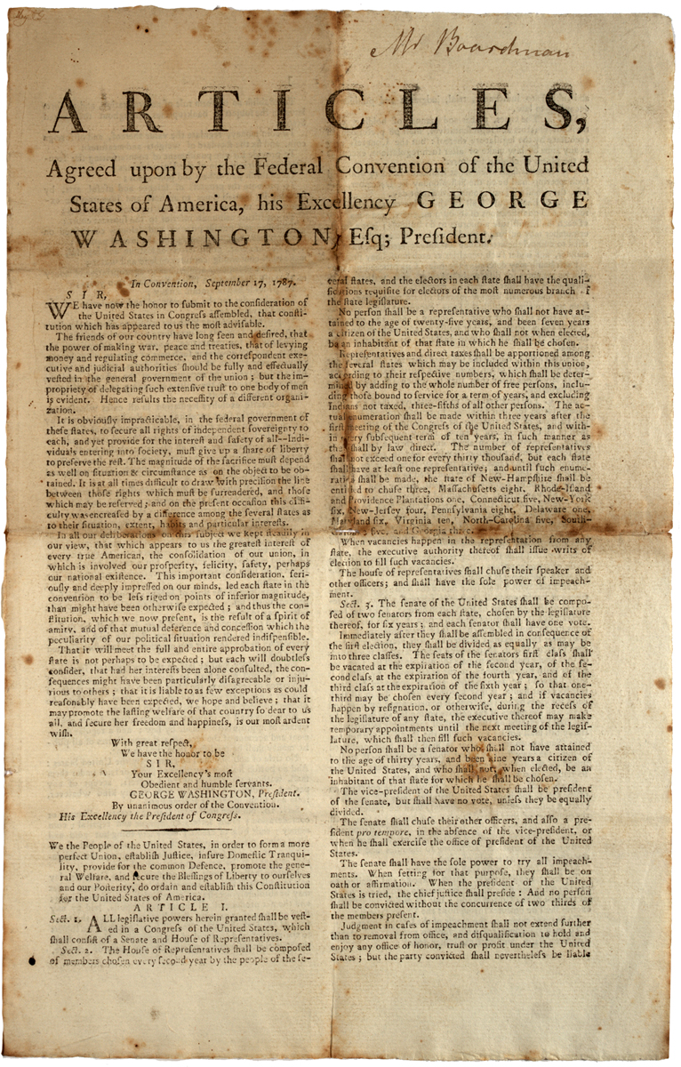 US Constitution printed in Albany, New York, 1788. (GLC07866)