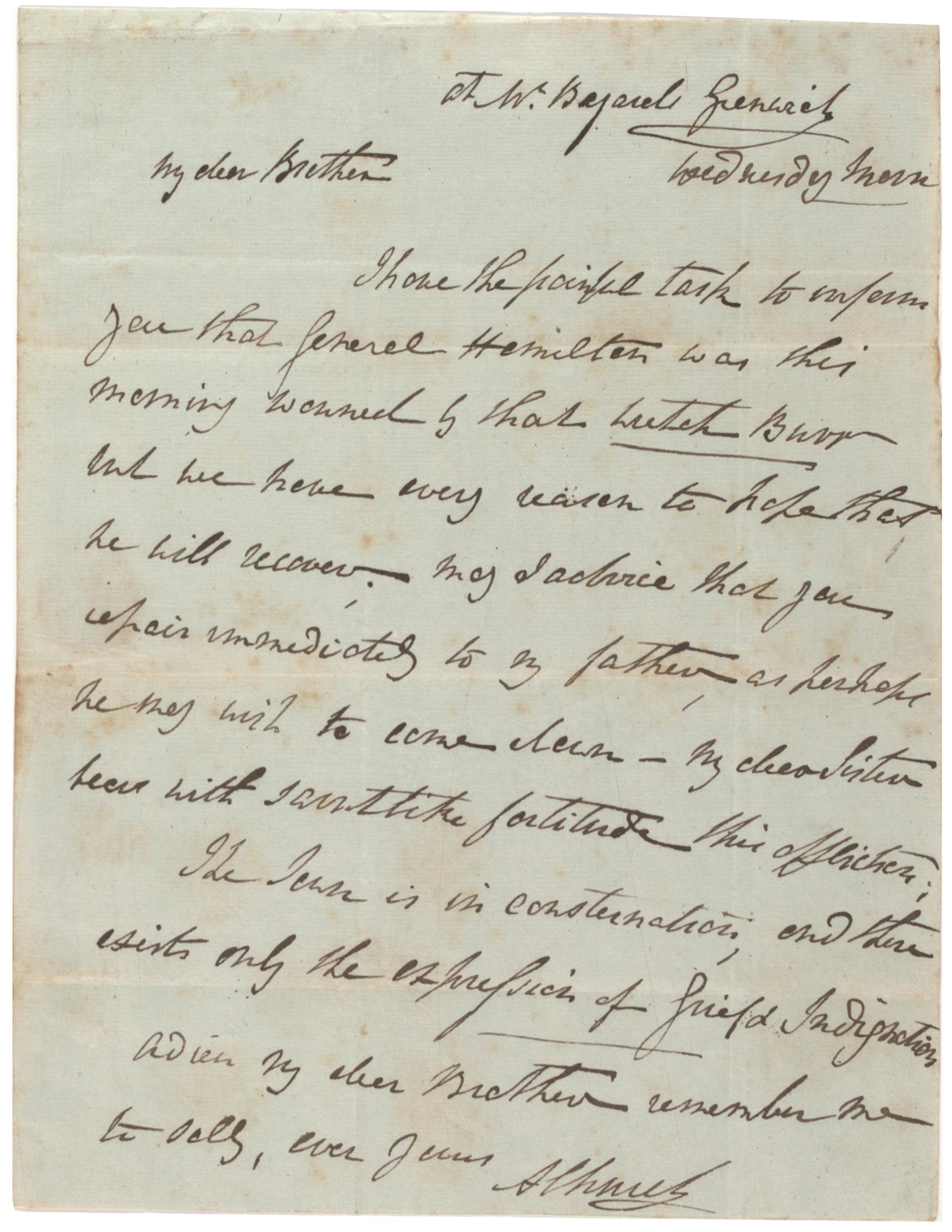 Angelica Schuyler Church to Philip Schuyler, July 11, 1804. (Gilder Lehrman