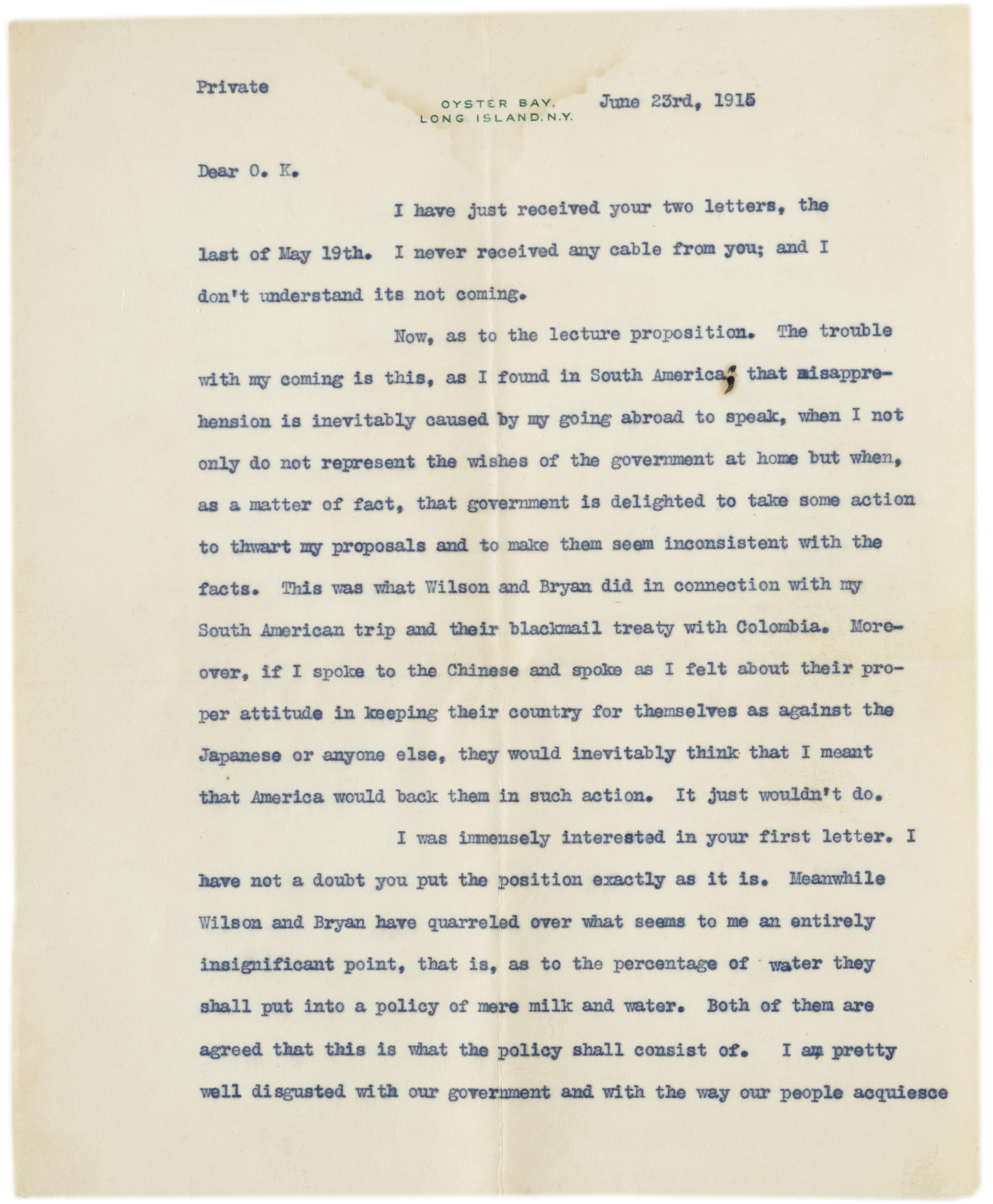 Theodore Roosevelt to Oscar King Davis, June 23, 1915. (Gilder Lehrman Collectio