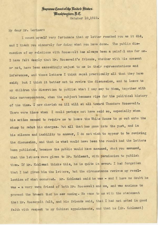 William Howard Taft to George Lorimer, October 10, 1922. ( GLC08052)