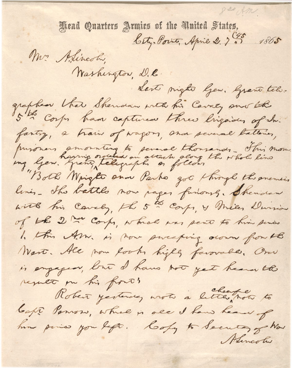 abraham lincoln to mary todd lincoln april 2 1865 glc08090 this letter