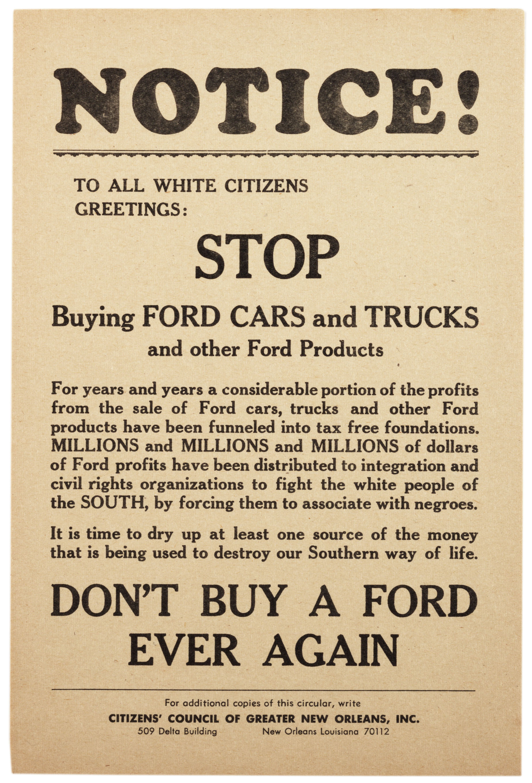 Don T Buy A Ford Ever Again Ca 1960 The Gilder Lehrman