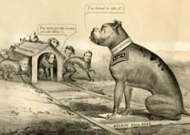 """The Old Bull Dog on the Right Track,"" Currier and Ives, NY, 1864. (GLC08594)"