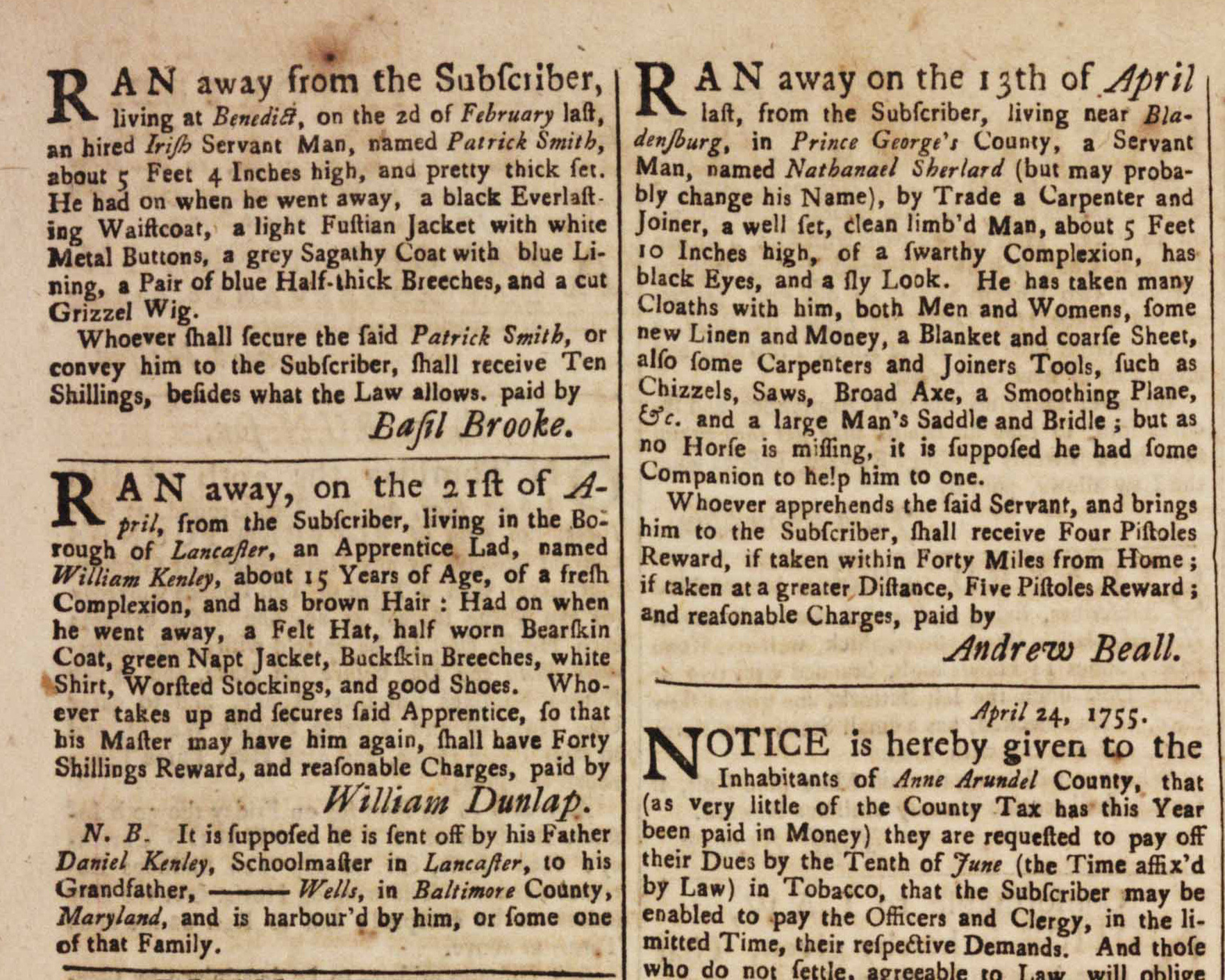 Advertisements for runaway indentured servants, Md. Gazette, May 22, 1755 (GLC)