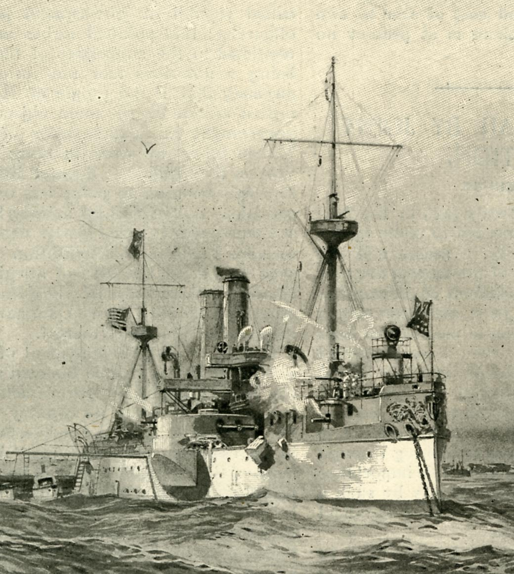 USS Maine, from Harper's Weekly, February 26, 1898. (GLC08833)