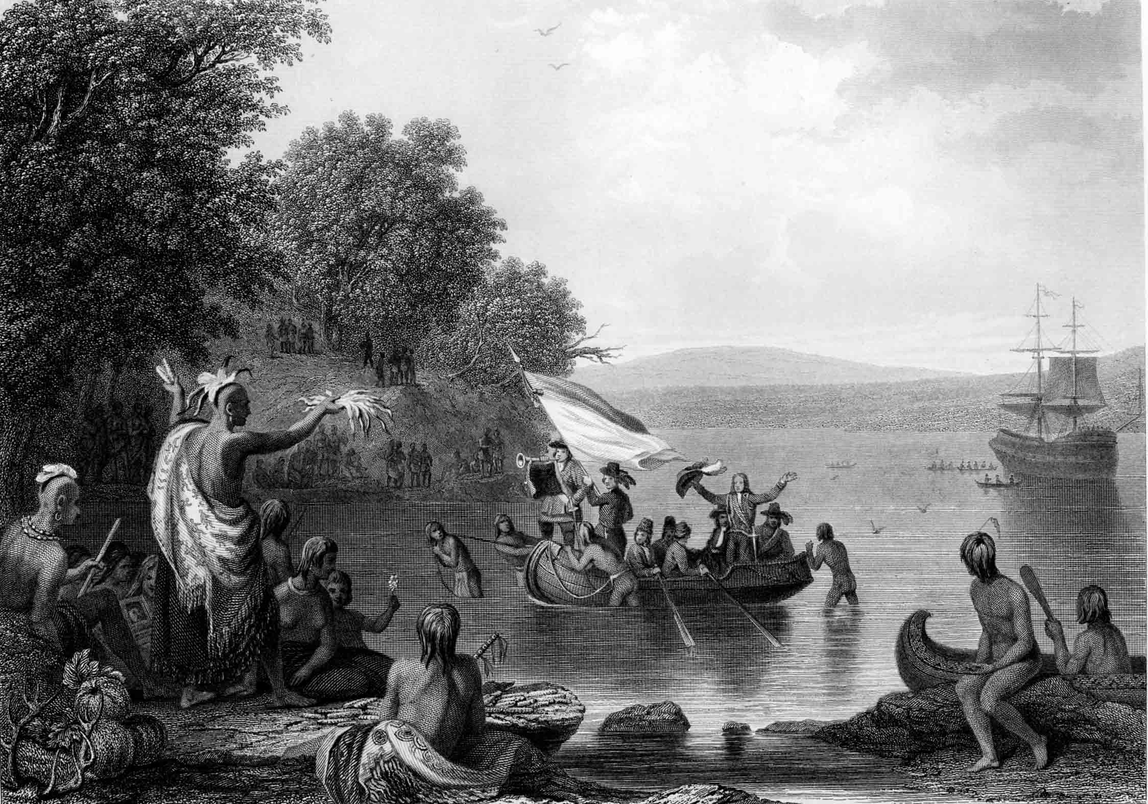 The Landing of Henrick Hudson, based on a painting by Robert Weir,  published by Martin, Johnson & Co., New York, 1857. (Gilder Lehrman  Collection)