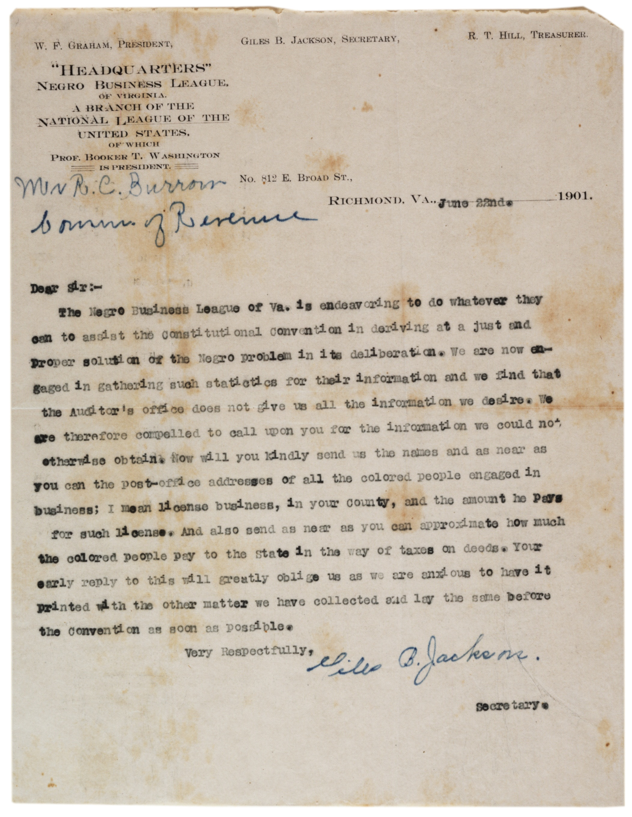 Giles B. Jackson to R.C. Burrow, June 22, 1901. (Gilder Lehrman Collection)