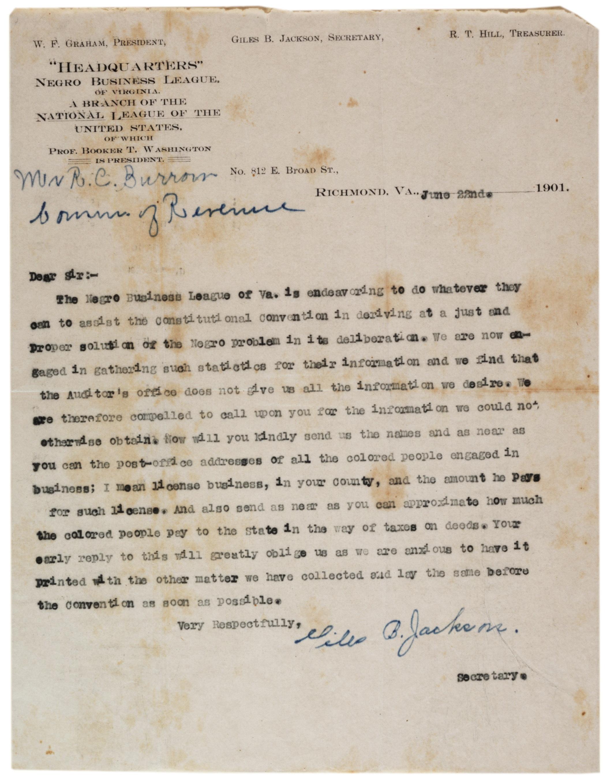 Giles B. Jackson to R.C. Burrow, June 22, 1901. (Gilder Lehrman Collection)
