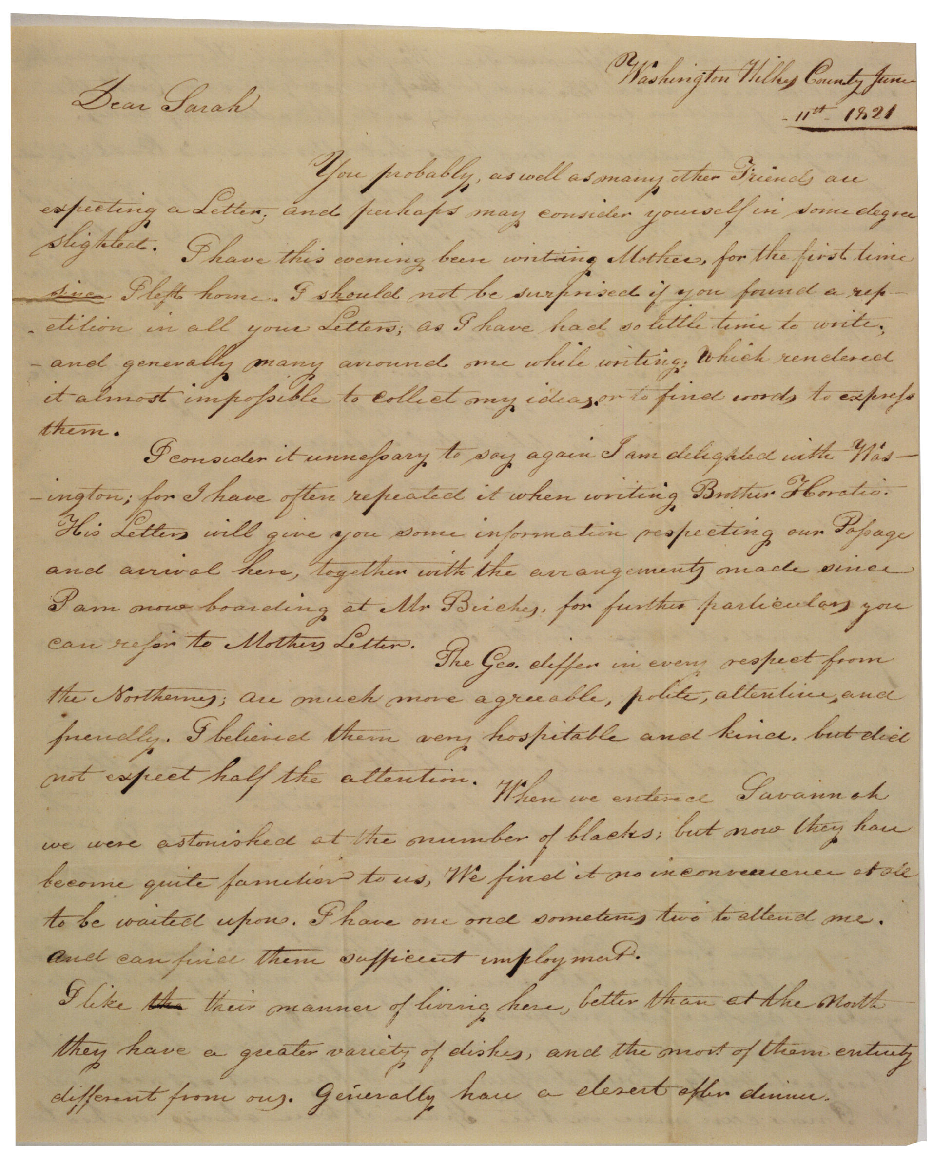 Aurelia Hale to her sister Sarah, June 11, 1821.  (Gilder Lehrman Collection)