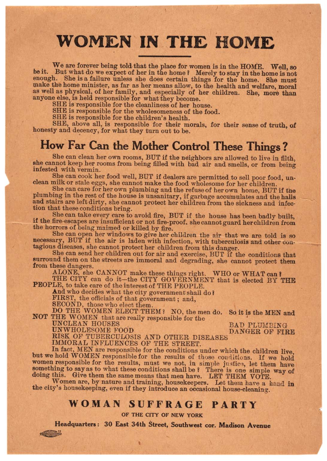 Woman Suffrage Party of the City of New York, Women in the Home broadside, ca. 1915. (Gilder Lehrman Collection)