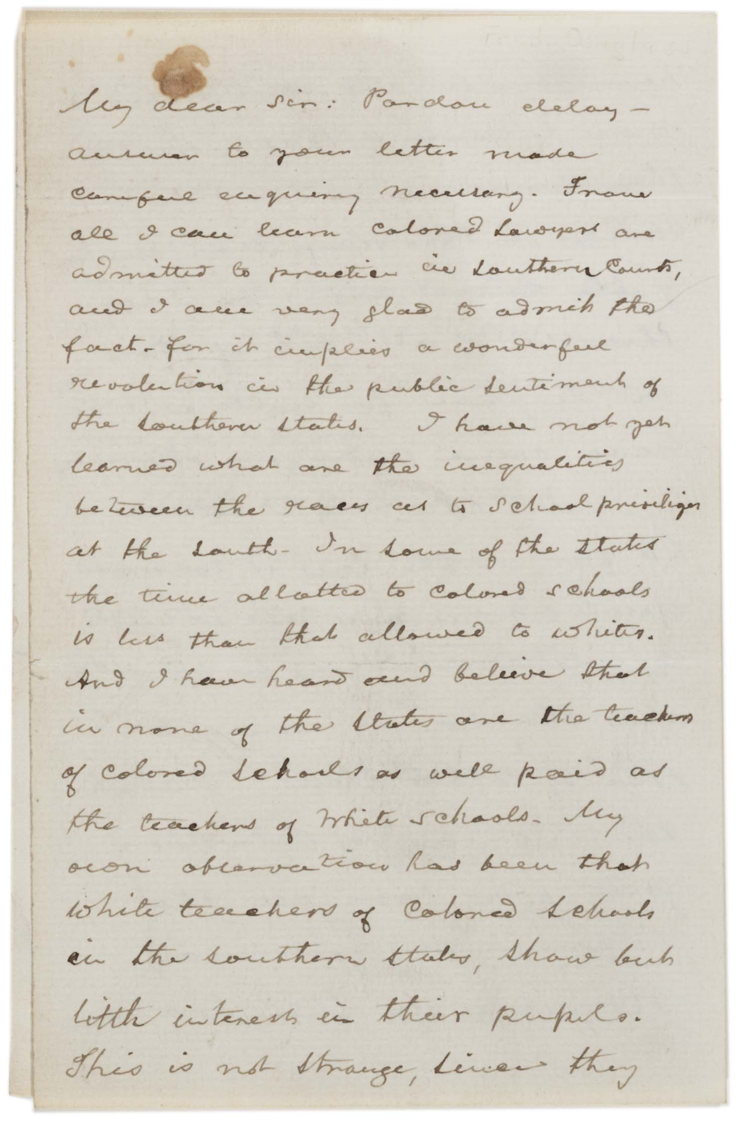 Frederick Douglass to unknown, November 23, 1887 (Gilder Lehrman Collection)
