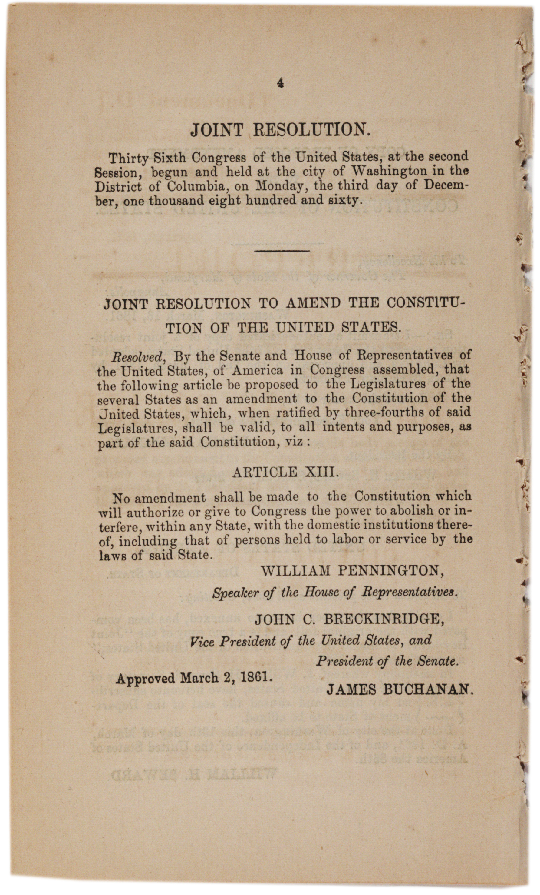 Proposed thirteenth amendment, April 30, 1861. (GLC09040p4)