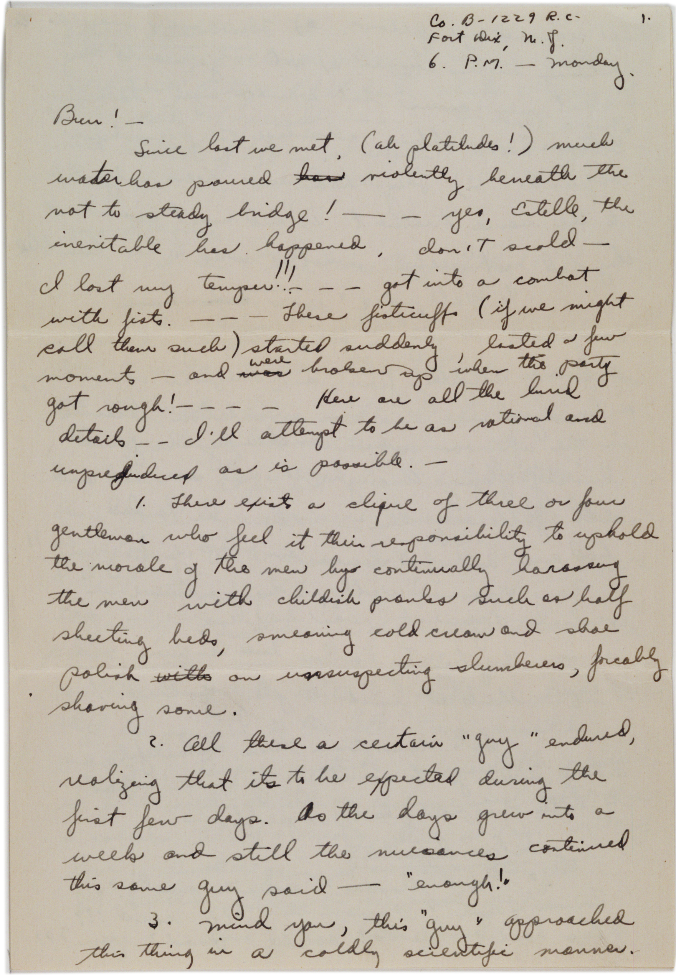 Sidney Diamond to Estelle Spero, ca. April 1942 (Gilder Lehrman Collection)