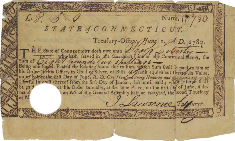 Pay warrant for Revolutionary War soldier Sharp Liberty, June 1, 1780. (GLC09132