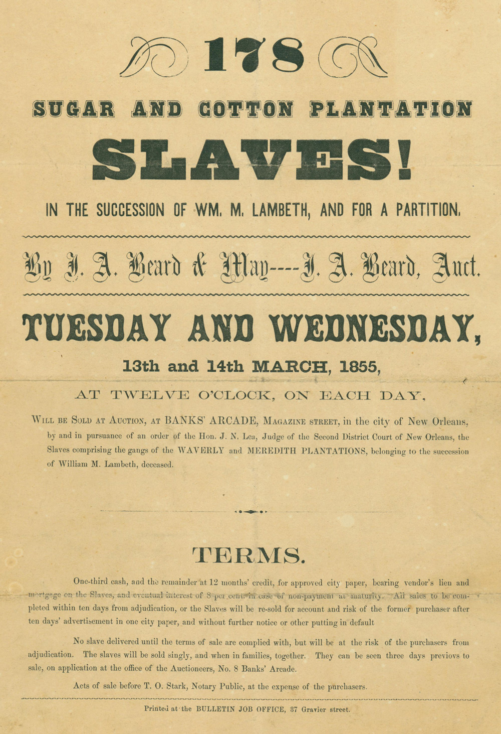 Slave auction catalog from louisiana 1855 gilder for Catalogue plantation