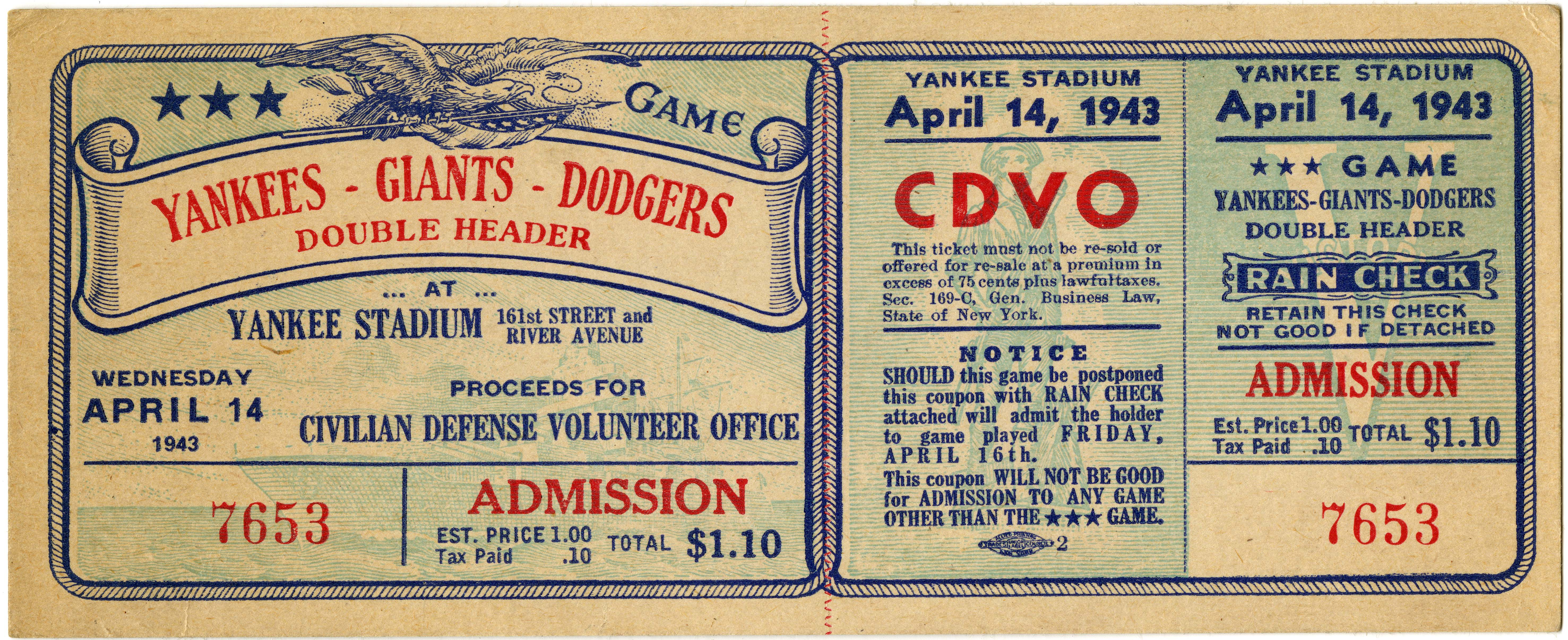 [Unused ticket, Yankees-Giants-Dodgers Double Header], April 14, 1943 (GLC09414)