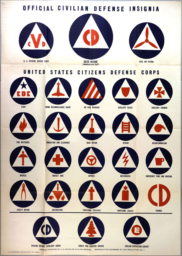 """Official Civilian Defense Insignia, United States Citizens Defense Corps,"" US O"