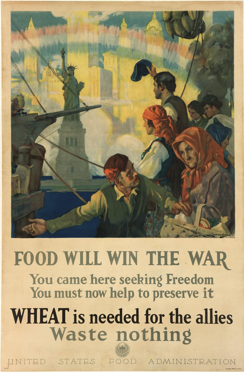 US Food Administration. Food Will Win the War, ca. 1917. (GLC09522)