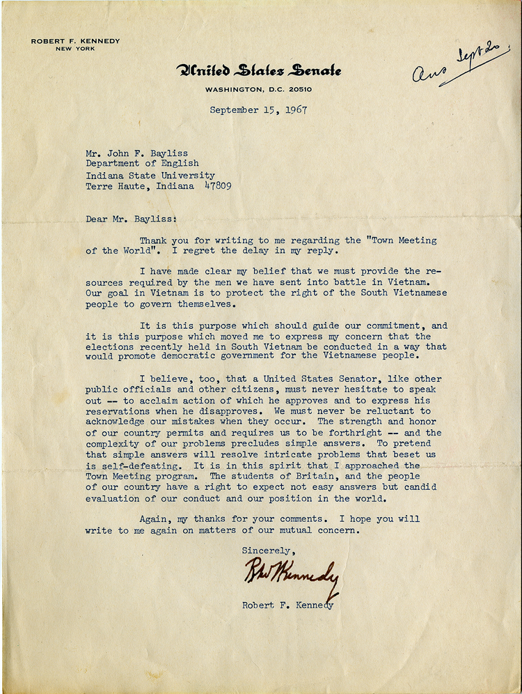 Robert F. Kennedy to John F. Bayliss, September 15, 1967 (GLC09525)