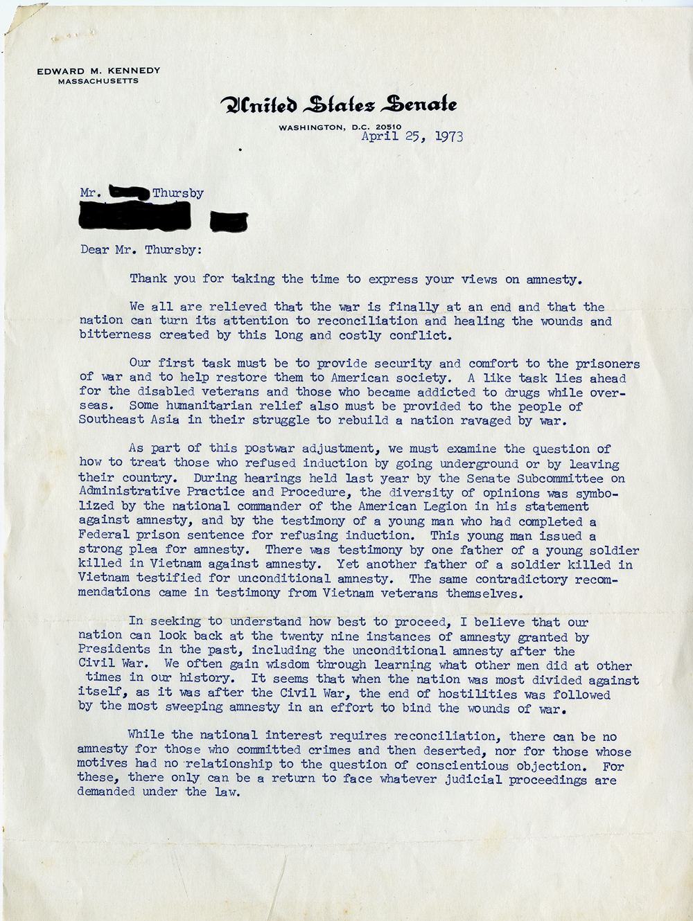 Edward Kennedy to Mr. Thursby, April 25, 1973 (GLC09526)