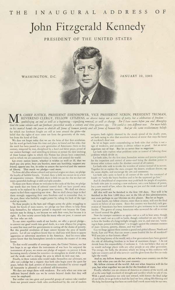 an analysis of the inaugural address of john f kennedy On jan 20, 1961, john f kennedy gave an inaugural address that became one of the most famous speeches in american history it shaped the lives of many who took his words to heart but will the message fade as generations pass.