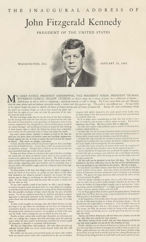 John F. Kennedy's Inaugural Address, 1961 (GLC09528)