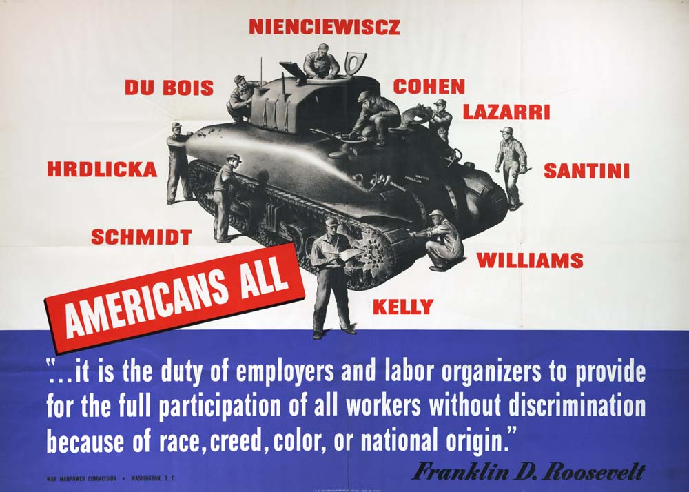 """Americans All"" poster, War Manpower Commission, Washington DC, 1942. (GLC09530)"