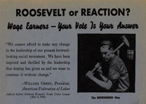 """Roosevelt or Reaction?"" campaign poster, Democratic National Campaign Committee"