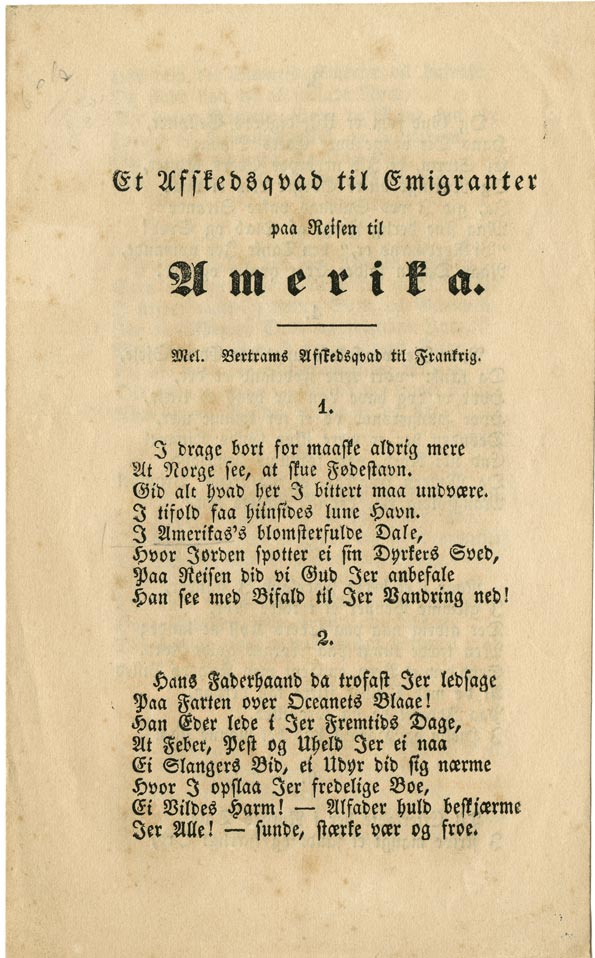 """[A Farewell Ode to Emigrants on Their Journey to America],"" Hamar, Norway, 1853"
