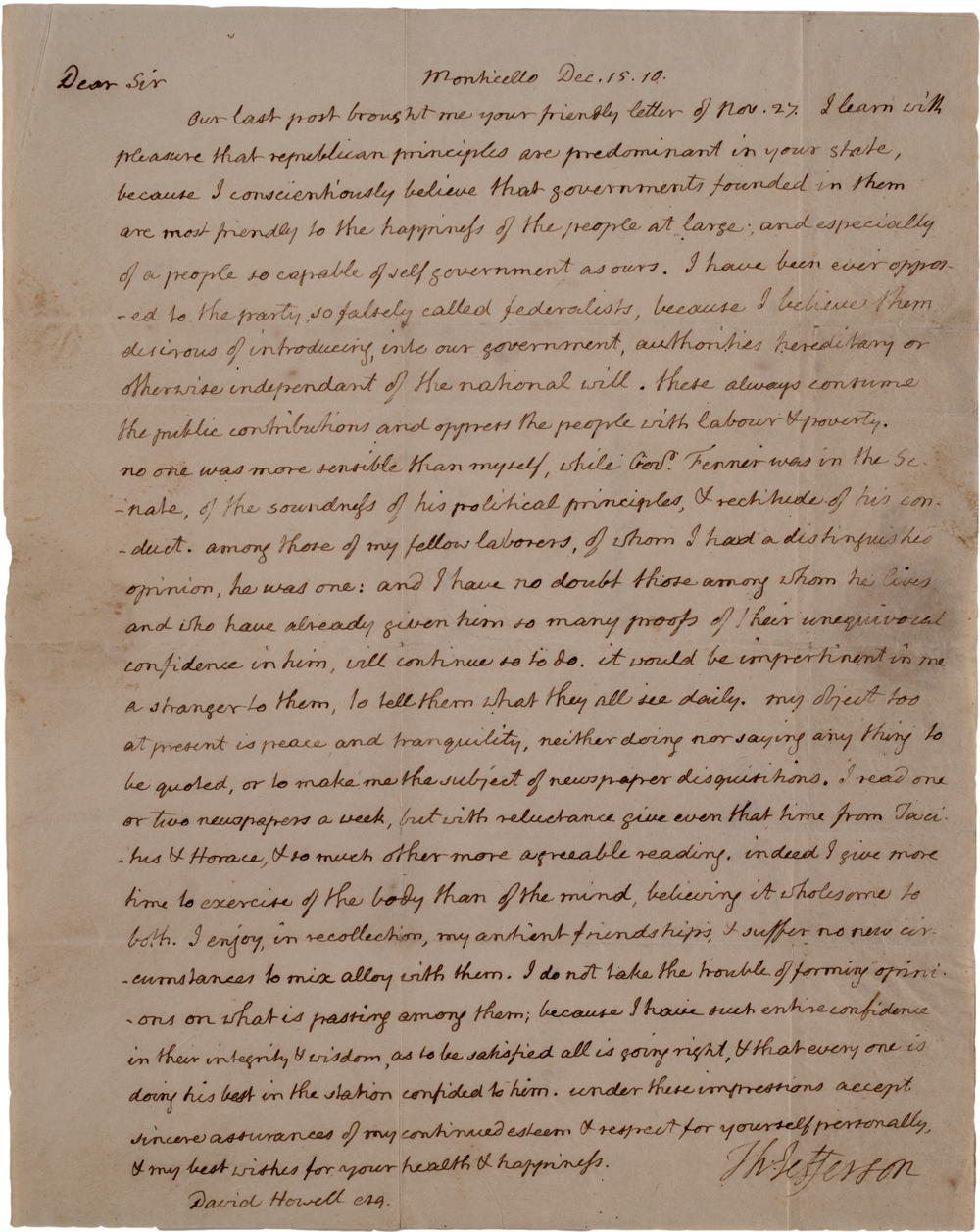 thomas jefferson s opposition to the federalists the thomas jefferson to david howell 15 1810 glc01027
