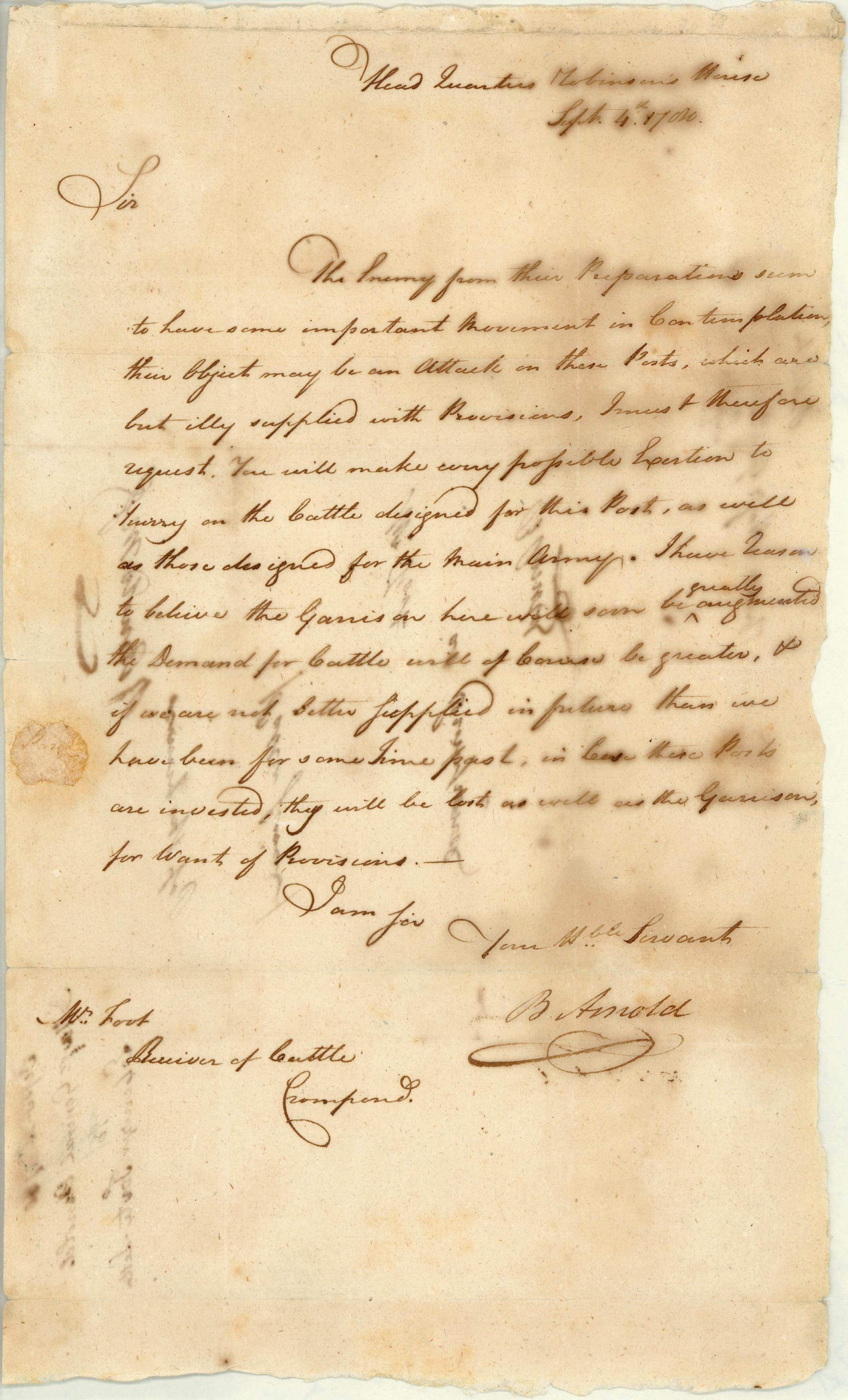 Benedict Arnold to Ebenezer Foote, September, 4 1780. (The Gilder Lehrman Collec