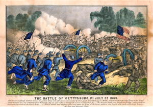 The Battle of Gettysburg, July 3, 1863, by Currier and Ives, ca. 1863. (GLC03445)