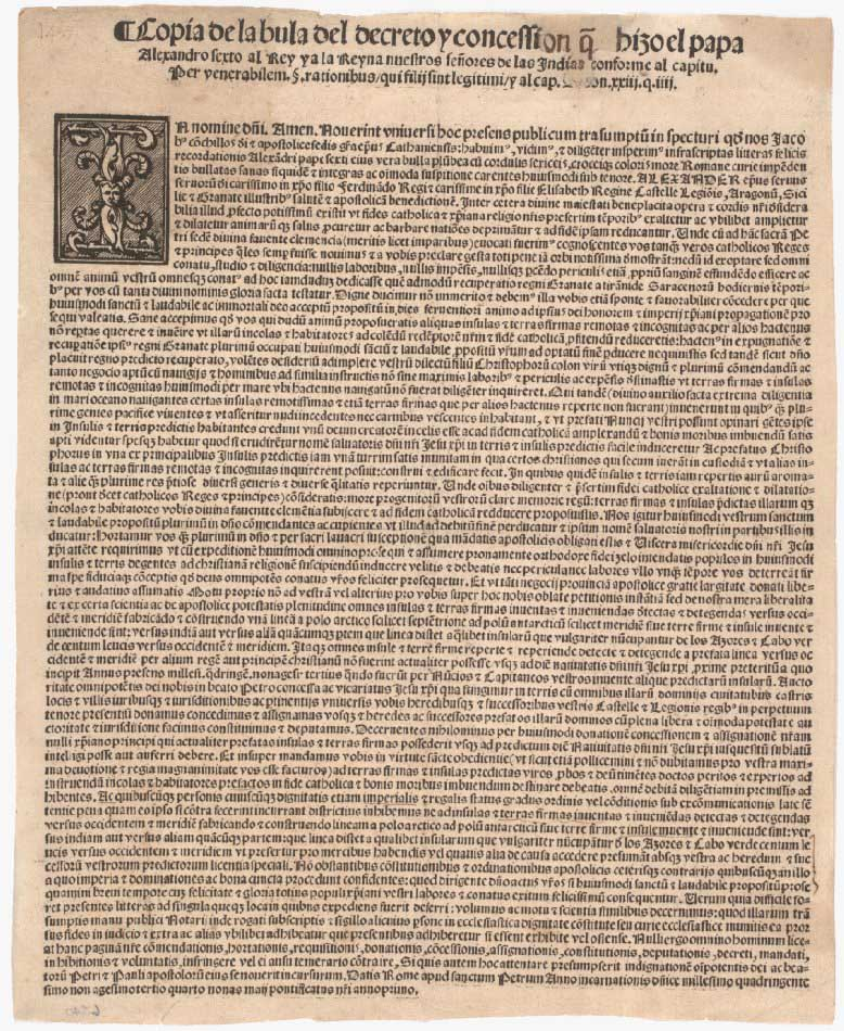 Demarcation bull, granting Spain possession of the New World, May 4, 1493.