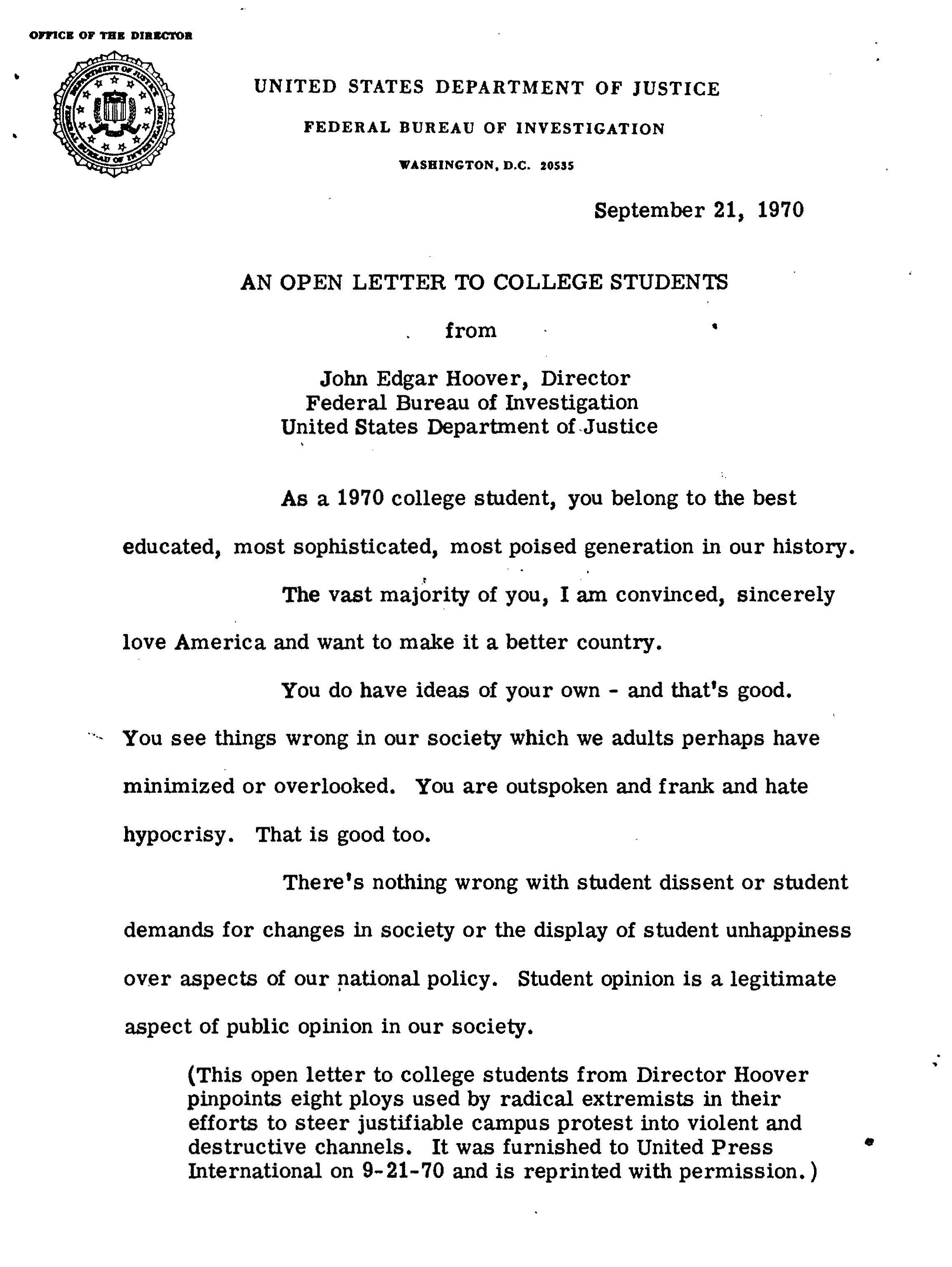 J. Edgar Hoover, An Open Address to Students, September 21,1970. (The Nixon Libr