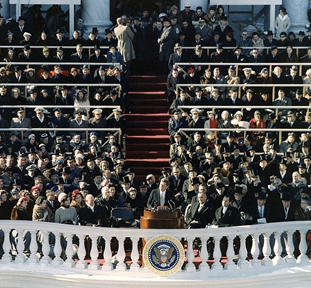 President John F. Kennedy giving his inaugural address, January 20, 1961 (Army S