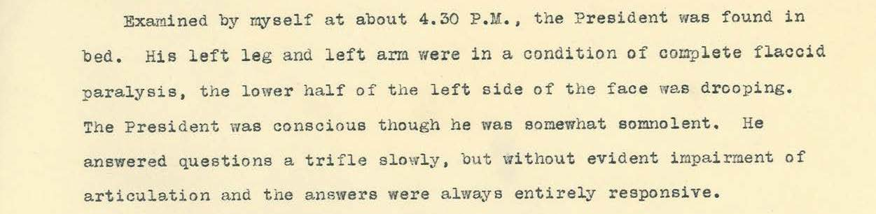 Final report on Wilson's condition written by Dr. Dercum, October 20, 1919, page
