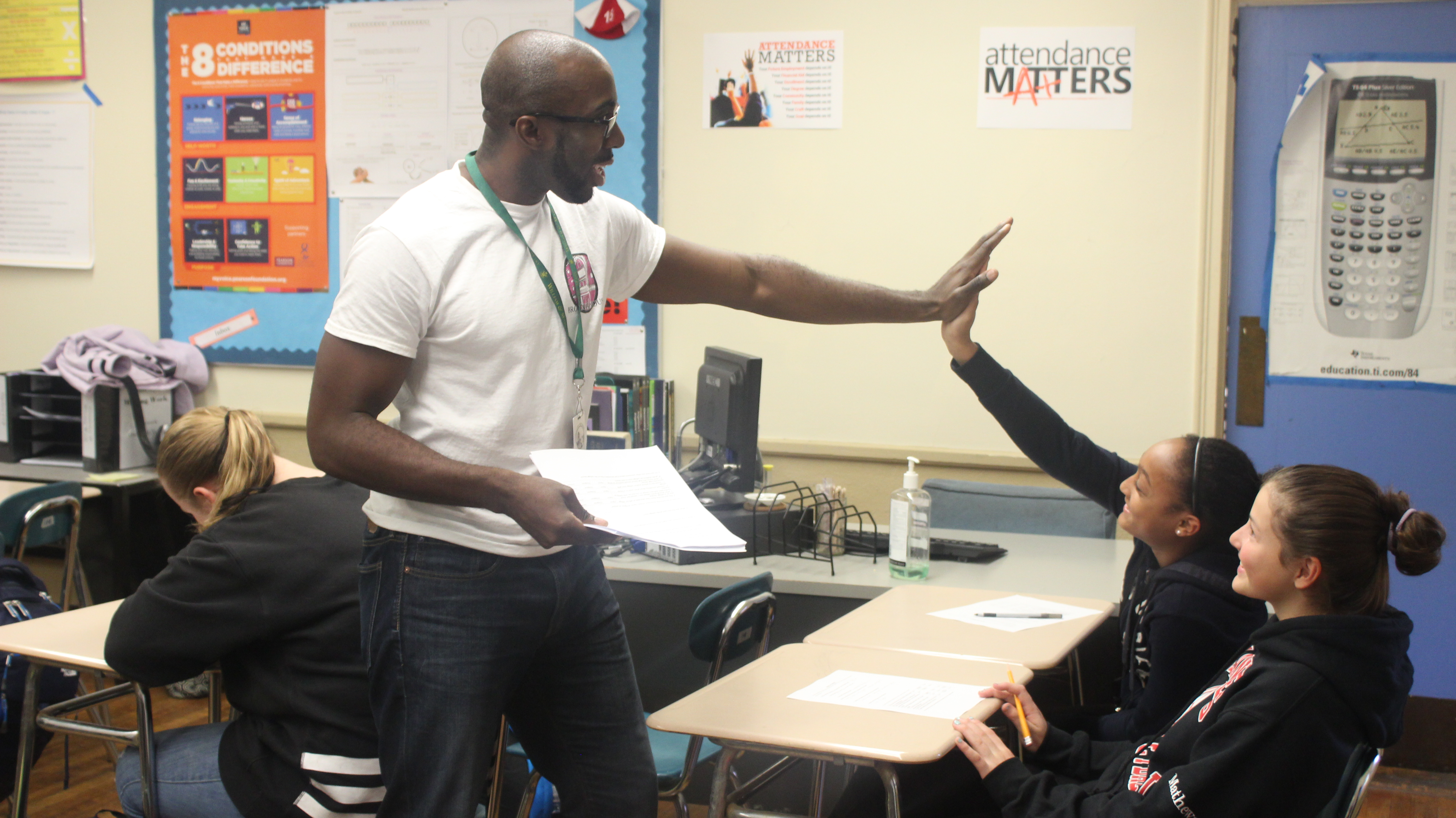 Kevin Dua, 2017 Massachusetts History Teacher of the Year, with his students at Somerville High School
