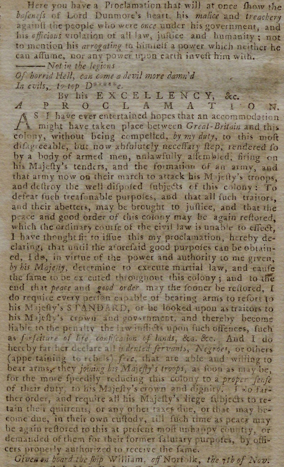 Dunmore's Proclamation, printed in the Pennsylvania Journal and Weekly Advertise
