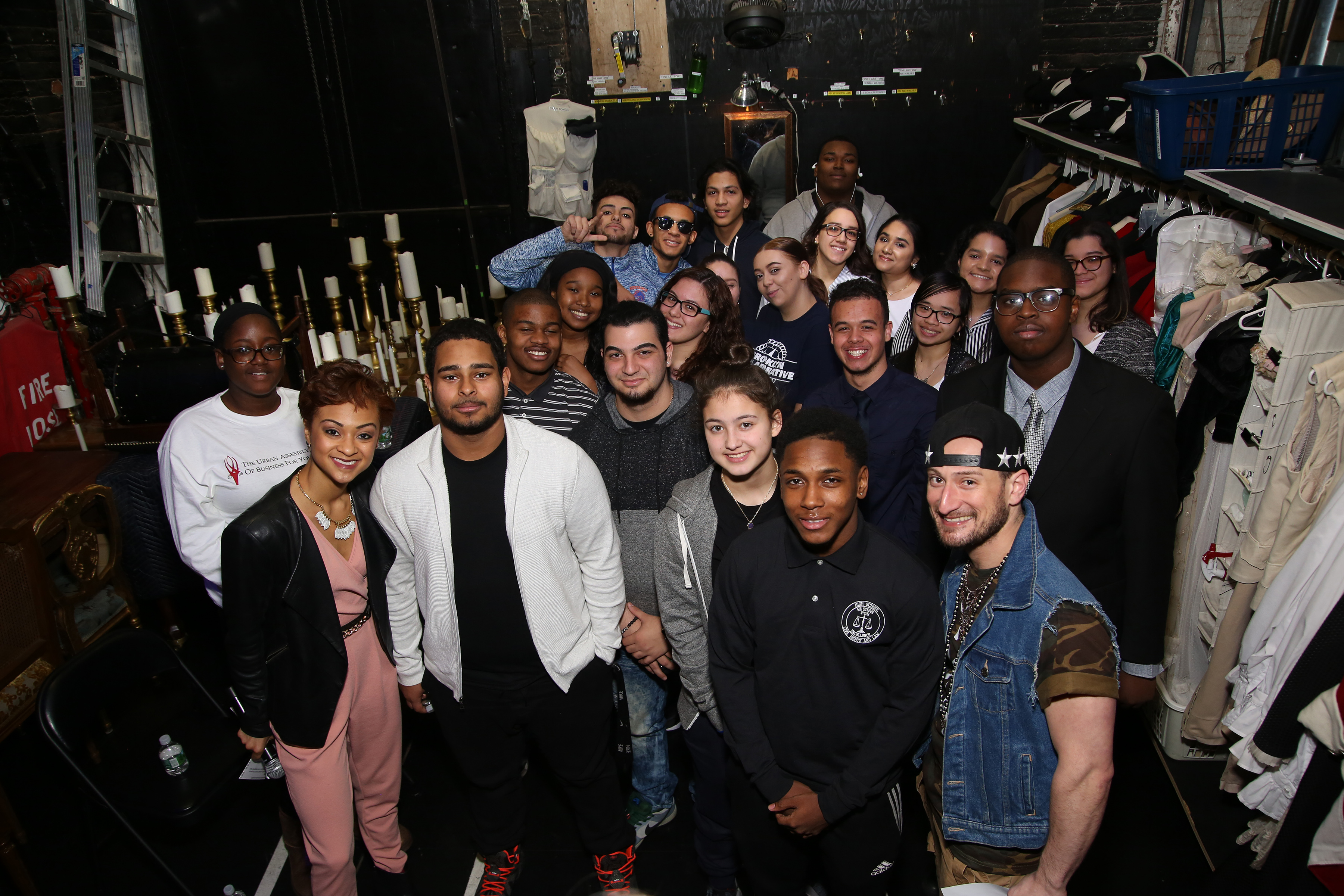 Student performers pose backstage at the Richard Rodgers Theatre, New York