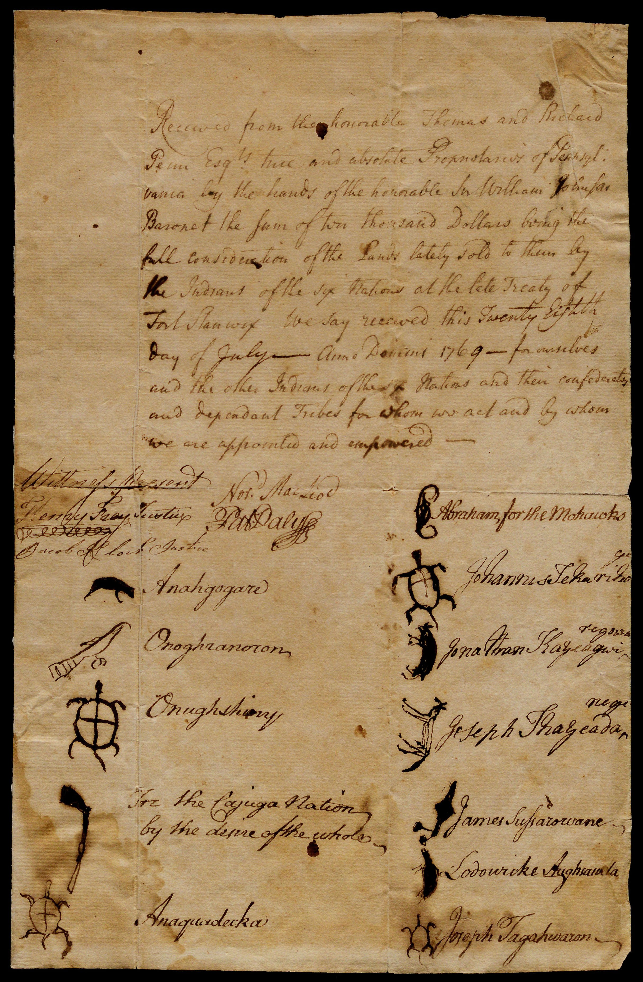 Receipt for payment for land ceded by the Six Nations, July 28, 1769. (Gilder Lehrman Collection)