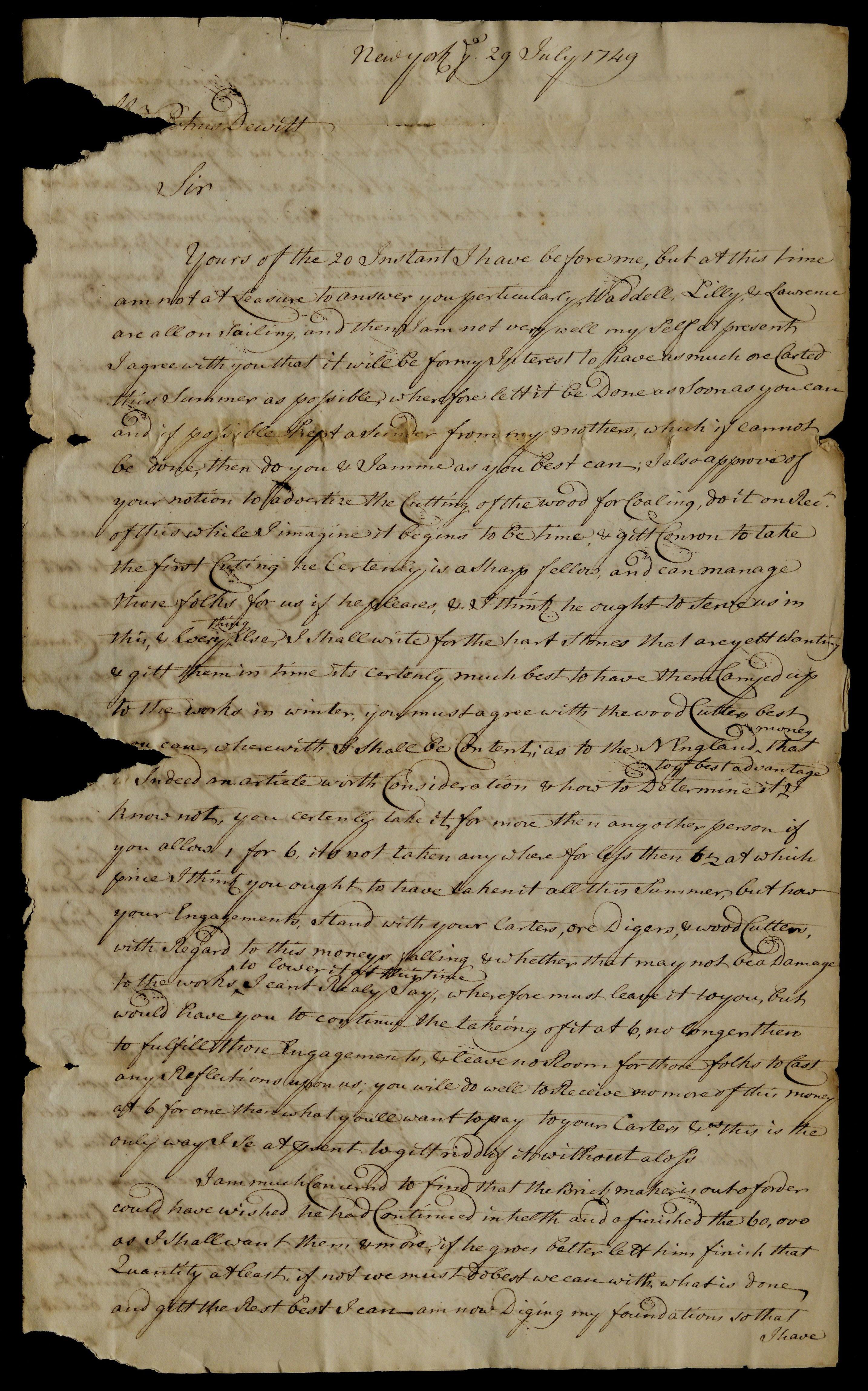Robert Livingston to Petrus Dewitt, July 29, 1749. (The Gilder Lehrman Institute