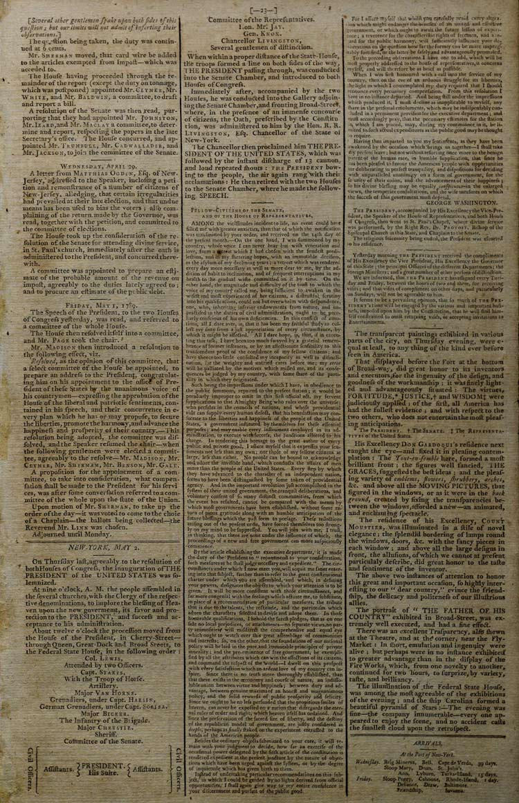 George Washington's First Inaugural Address published in the Gazette of the Unit