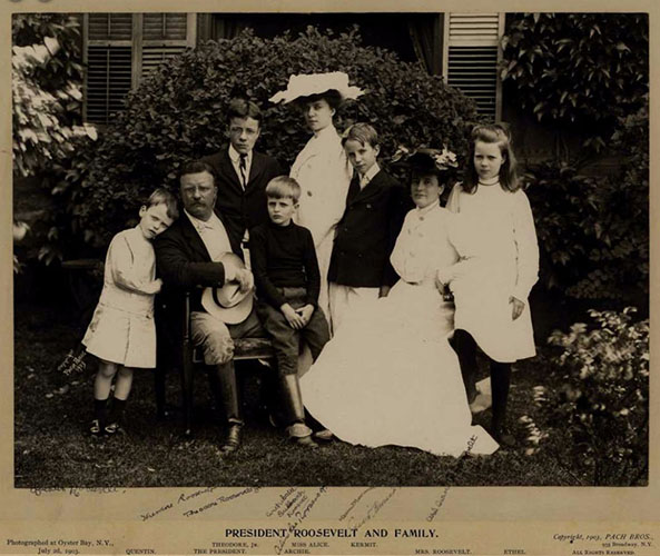 Signed photograph of Theodore and Edith Roosevelt with children, July 2, 1903