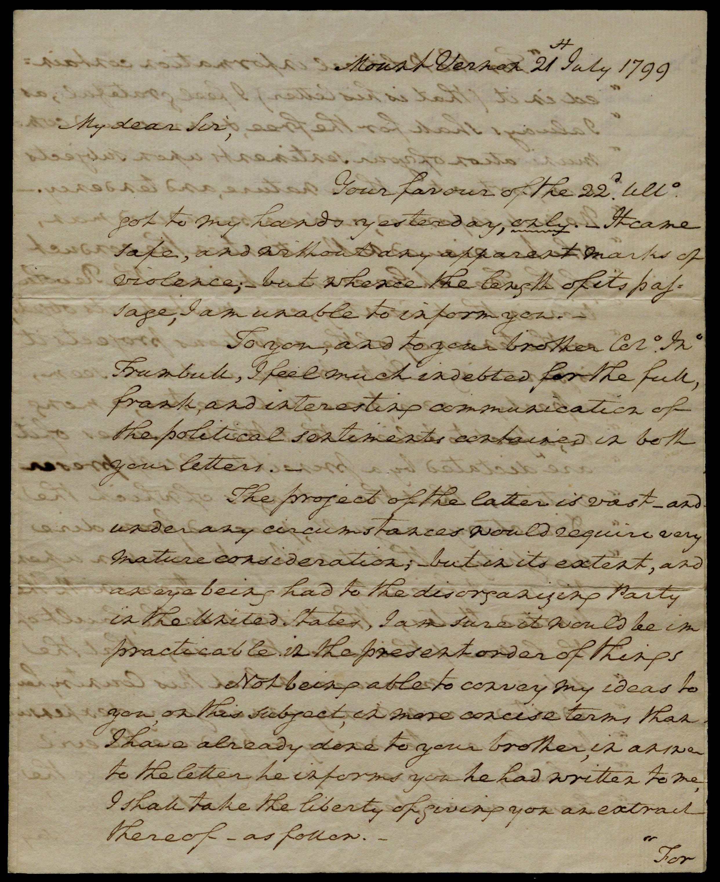 George Washington to Jonathan Trumbull, 1799. (Gilder Lehrman Collection)