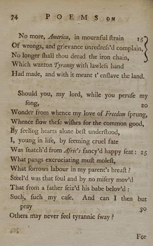 phillis wheatley poems summary