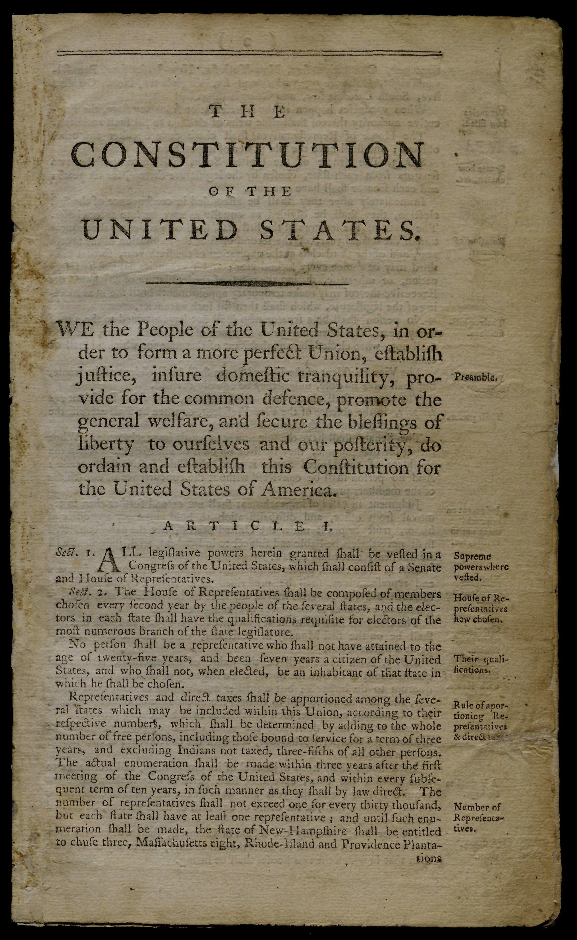 The Constitution of the United States, January 1788. (Gilder Lehrman Collection)