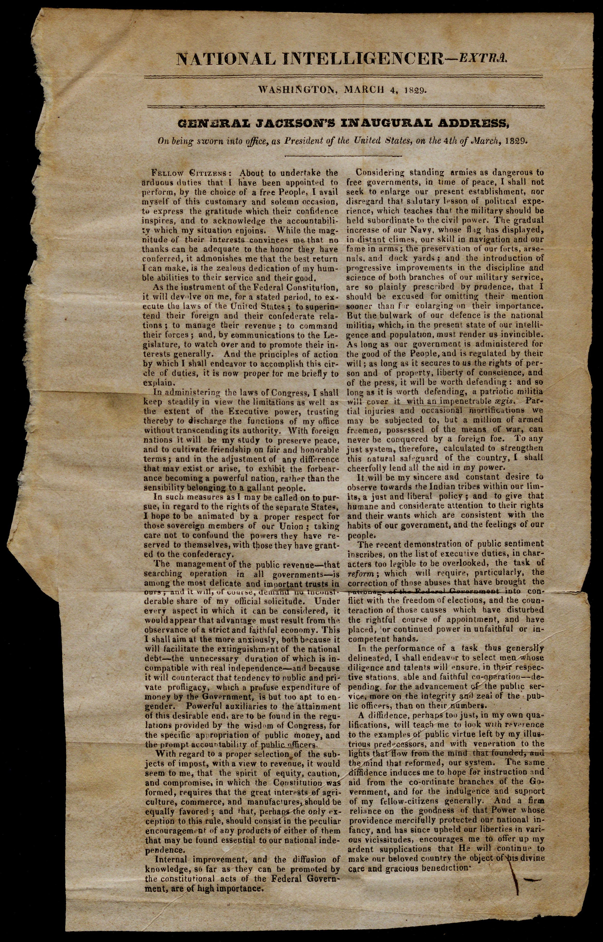 Printing of Andrew Jackson's inaugural address, 1829. (The Gilder Lehrman Collec
