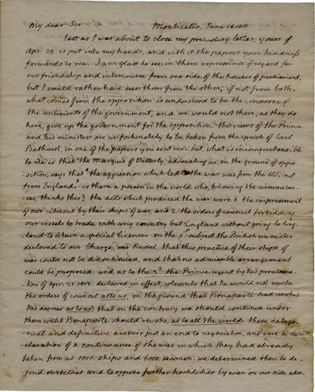 Thomas Jefferson to James Maury Esq., June 16, 1815. (GLC09077)