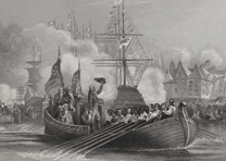 George Washington arrives in New York for first inauguration, April 30, 1789 (Ne